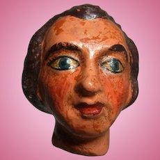 Old Vintage Marionette Puppet Head Plaster Younger Man