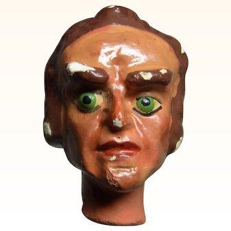 Old Vintage Marionette Puppet Head Plaster  Man