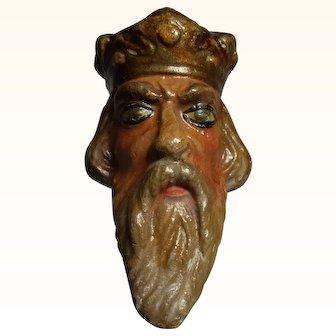 Old Vintage Marionette Puppet Head Plaster  King