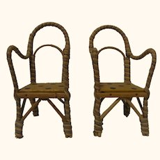 Two Old Vintage German Doll for Dollhouse Chair