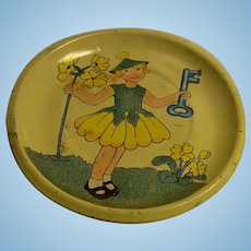 Vintage German Tin Toy Doll Tray Plate