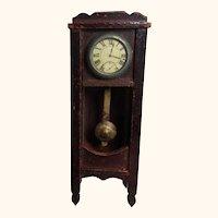 Antique Grandfather Clock German Wood Dollhouse