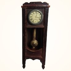 Antique Grandfather Clock German Wood Dollhouse