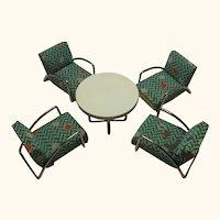 4 Armchair and Round Table Dollhouse German Art Deco Bauhaus