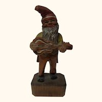 German Folk Art Hand Carved and Painted Gnome with Guitar