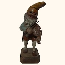 German Folk Art Hand Carved and Painted Gnome with Violin