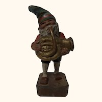 German Folk Art Hand Carved and Painted Gnome with Bass Trumpet