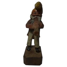 German Folk Art Hand Carved and Painted Gnome with Horn