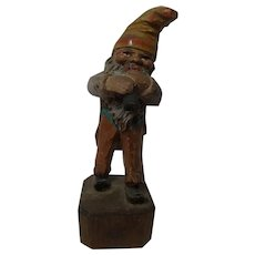 German Folk Art Hand Carved and Painted Gnome with Small Horn