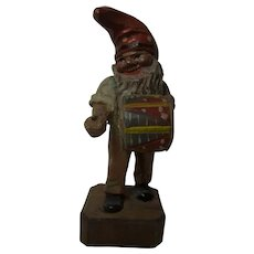 German Folk Art Hand Carved and Painted Gnome with Drum