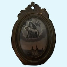 Dollhouse Picture Frame Ormolu Erhard & Sohne with Christian Image