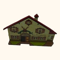 German Folk Art Flat Wood Toy House Pub