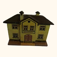 German Folk Art Flat Wood Toy House School