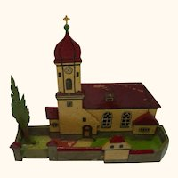 German Folk Art Flat Wood Toy House Church