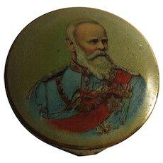 Antique German Patriotic Kaiser Portrait Motive Hand Mirror