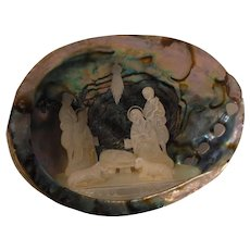Vintage Mother of Pearl Nativity Scene in a Shell