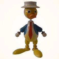 Vintage Painted Wood Bobble Head Figure Duck
