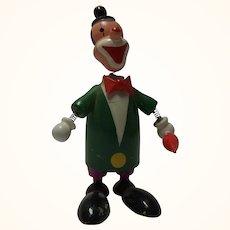 Vintage Painted Wood Bobble Head Figure Clown