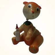 Vintage Painted Wood Bobble Head Figure Bear with Bottle