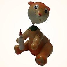 Vintage Painted Wood Bobble Head Figure Bear with Bottle