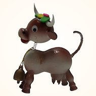 Vintage Painted Wood Bobble Head Figure Cow