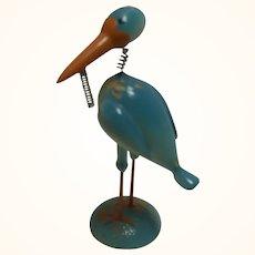 Vintage Painted Wood Bobble Head Figure Stork
