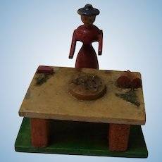 Vintage German Erzgebirge Market Sell Table Doll or Dollhouse Size