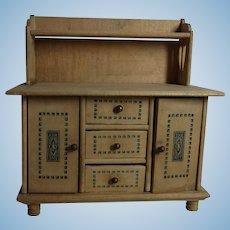 Vintage German Wood Dollhouse Sideboard
