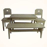 Art Nouveau German Wood Doll or Dollhouse Table Bench 2 Chair