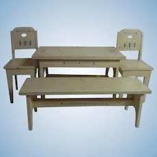 Art Nouveau German Wood Doll or Dollhouse Table Bench 2 Chair