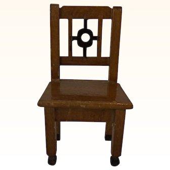 Vintage German Wood Dollhouse Chair ca.1910