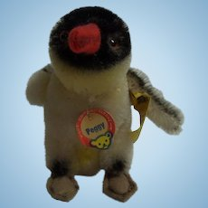 Vintage German Steiff Peggy Penguin Button and Tag