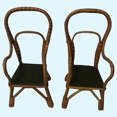 Two Old Vintage German Doll Rattan Chair ca. 1920s