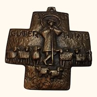 Vintage Brass Cross Jesus Good Shepherd