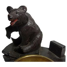 Antique Swiss Hand Carved Wood Black Forest Bear Ashtray