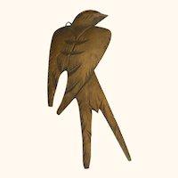 Vintage German Wood Carved Swallow Wall Ornament