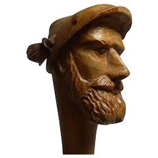 Old Vintage German Black Forest Carved Wood Bottle Stopper Bearded Man