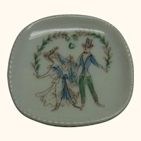 Vintage Hand Painted Wedding Scene Dollhouse Bowl Rosenthal Signed