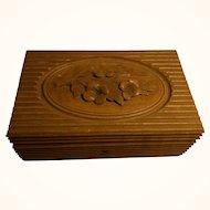 Antique German Black Forest Carved Wood Box