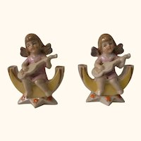 Two Antique German Table Vase Angel with Guitar