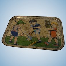 Vintage German Tin Toy Doll Tray Plate Playing Child