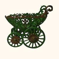 Vintage German Painted Metal Pewter Stroller
