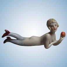 German China Bathing Beauty Lying with Apple