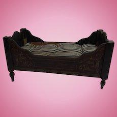 Antique Boulle Dollhouse Bed Boule