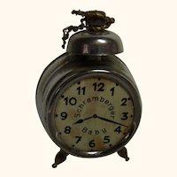 Vintage German Dollhouse Alarm Clock Brooch