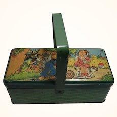 Vintage German Child or Doll Litho Tin Toy Basket