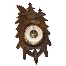Antique German Black Forest Carved Wood Barometer