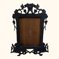 Antique German Picture Photo Frame Mythical Creatures Ebonized Wood