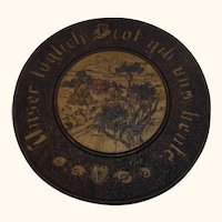 """Antique German 1909 Poker Work Wall Plate """" Give us our daily bread today """""""