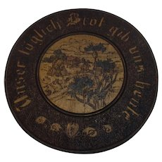 "Antique German 1909 Poker Work Wall Plate "" Give us our daily bread today """